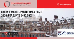 Barry & Marie Lipman Family Prize 2020, USA (Up to $450,000)