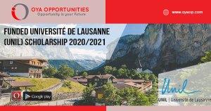 Funded Université de Lausanne (UNIL) Scholarship 2020/2021