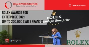 Rolex Awards for Enterprise 2021 (Up to 200,000 Swiss Francs)