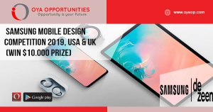 Samsung Mobile Design Competition 2019, USA & UK (Win $10.000 Prize)