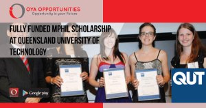Fully Funded MPhil Scholarship at Queensland University of Technology