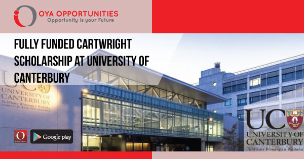Fully Funded Cartwright Scholarship at University of Canterbury