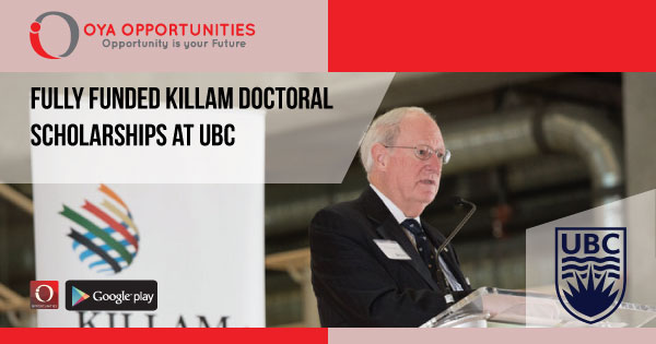 Fully Funded Killam Doctoral Scholarships at UBC
