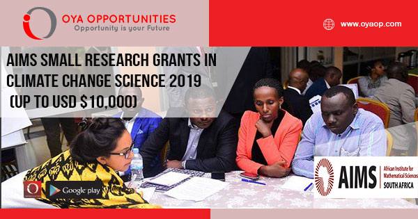 AIMS Small Research Grants in Climate Change Science 2019 (Up to USD $10,000)