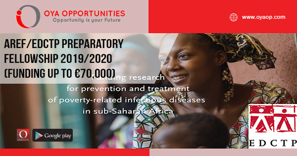 AREF/EDCTP Preparatory Fellowship 2019/2020 (Funding up to €70,000)