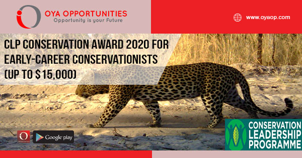 CLP Conservation Award 2020 for Early-career Conservationists (Up to $15,000)