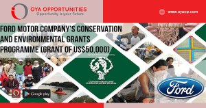 Ford Motor Company's Conservation and Environmental Grants programme 2019 (Total grant of US$50,000)