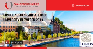 Funded Scholarship at Lund University in Sweden 2019