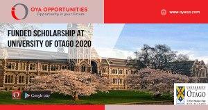 Funded Scholarship at University of Otago 2020