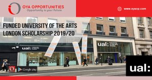 Funded University of the Arts London Scholarship 2019/20