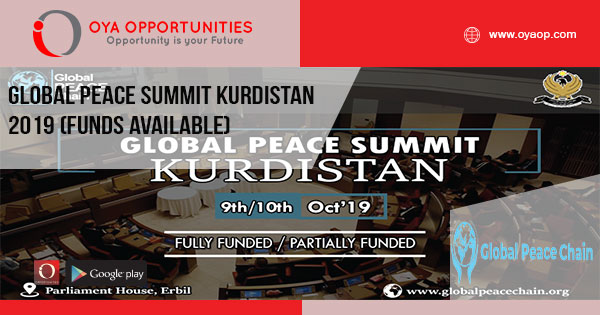 Global Peace Summit Kurdistan 2019 (Funds Available)