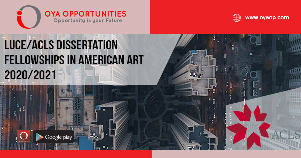 Luce/ACLS Dissertation Fellowships in American Art 2020/2021
