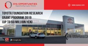 Toyota Foundation Research Grant Program 2019 (Up to 60 million Yen)