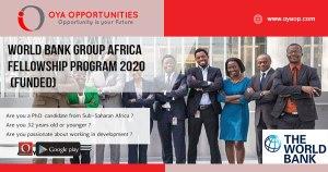 World Bank Group Africa Fellowship Program 2020 (Funded)