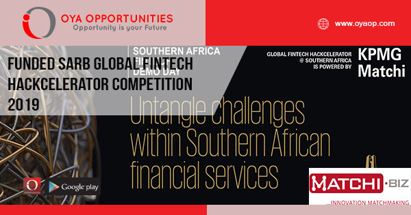 Funded SARB Global Fintech Hackcelerator Competition 2019