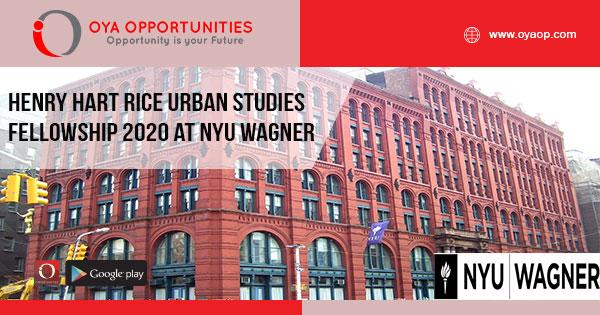 Henry Hart Rice Urban Studies Fellowship 2020 at NYU Wagner