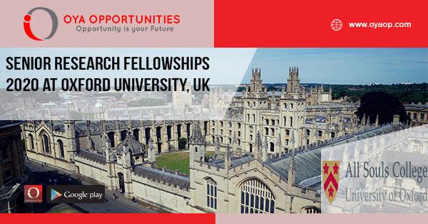 Senior Research Fellowships 2020 at Oxford University, UK