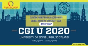 Clinton Foundation application for Global Initiative University 2020