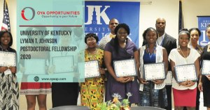 University of Kentucky Lyman T. Johnson Postdoctoral Fellowship 2020