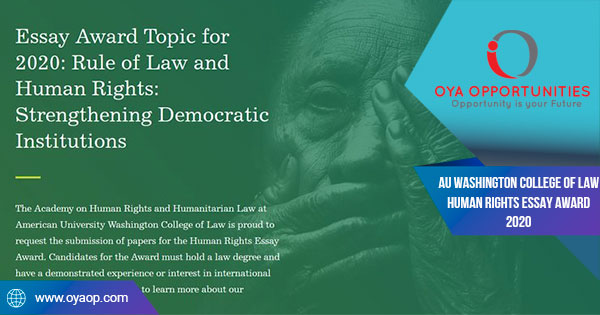 AU Washington College of Law Human Rights Essay Award 2020