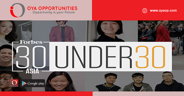 FORBES 30 Under 30 Nominations 2020 For Asia