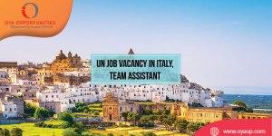 UN Job Vacancy in Italy, Team Assistant