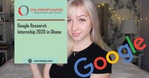 Google Research Internship 2020 in Ghana