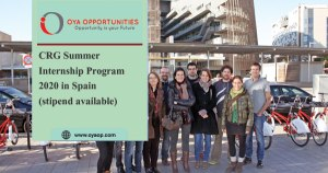 CRG Summer Internship Program in Spain (stipend available)