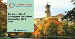 University of Nottingham's Excellence Scholarships 2020