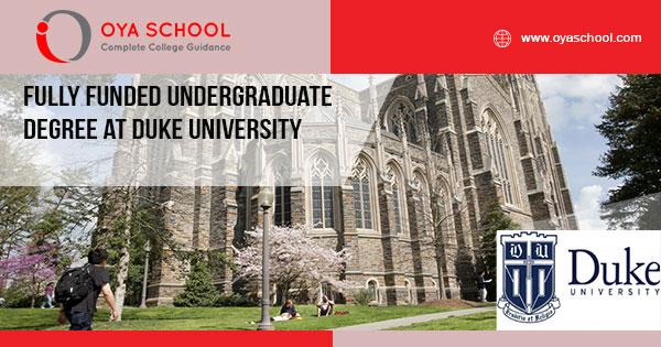 Fully Funded Undergraduate Degree at Duke University