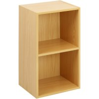 2 Tier Wooden Shelf Beech Bookcase Shelving Storage ...