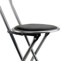NEW! Black Padded Folding High Chair Breakfast Kitchen Bar ...