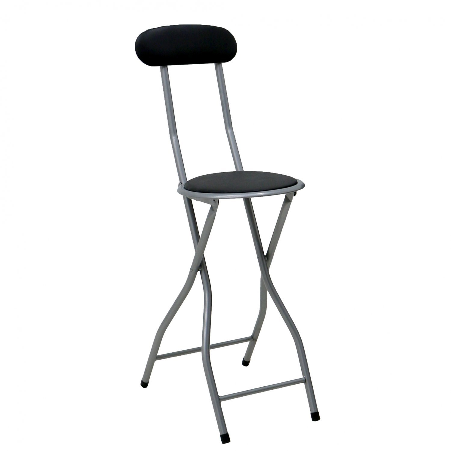 padded high chair back vinyl black folding breakfast kitchen bar stool seat shopping with oypla