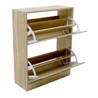 2 Drawer Oak Effect Shoe Storage Cupboard Cabinet ...