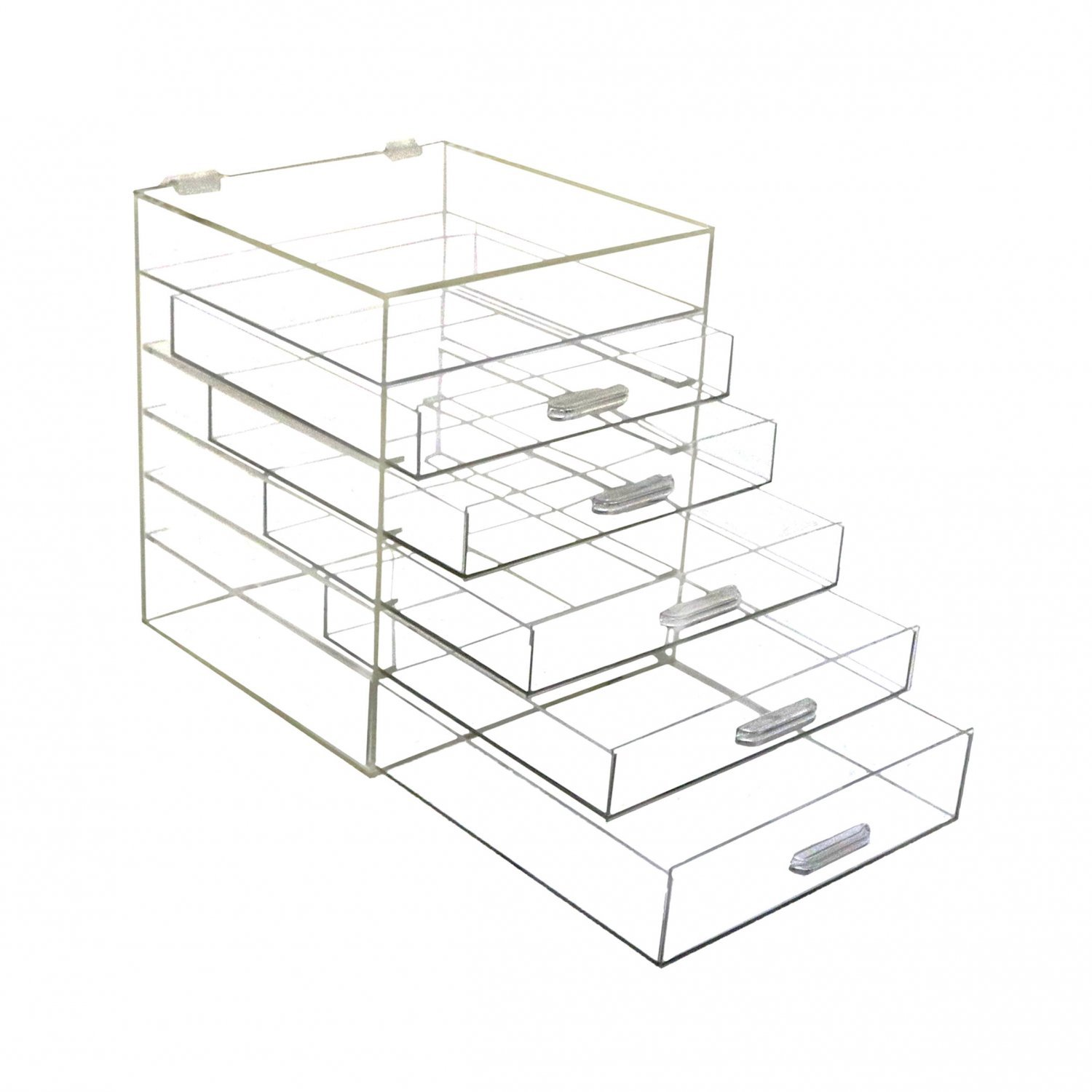 6 Drawer Clear Arylic Makeup Organiser Cosmetic Display