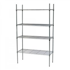 Kitchen Wire Rack Brushed Nickel Cabinet Hardware 4 Tier Heavy Duty Steel Shelf Storage Shelving Unit W Wheels