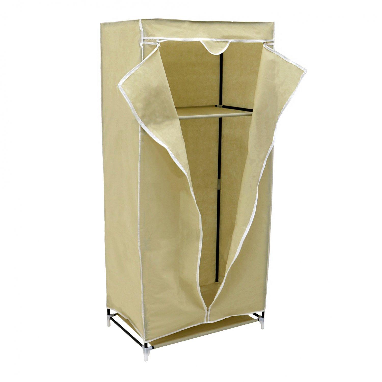 single cream canvas wardrobe clothes rail hanging storage closet