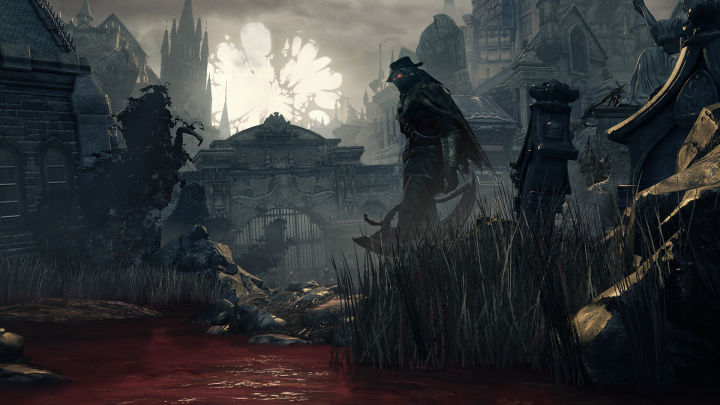 A Hunter standing by a pool of blood.