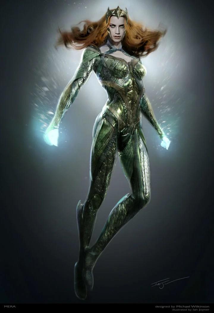 Final conceito de arte Justice League para o traje de Mera como projetado por Michael Wilkinson.  CRÉDITO: © 2016 Warner Bros. Entertainment Inc./ ™ & © DC Comics