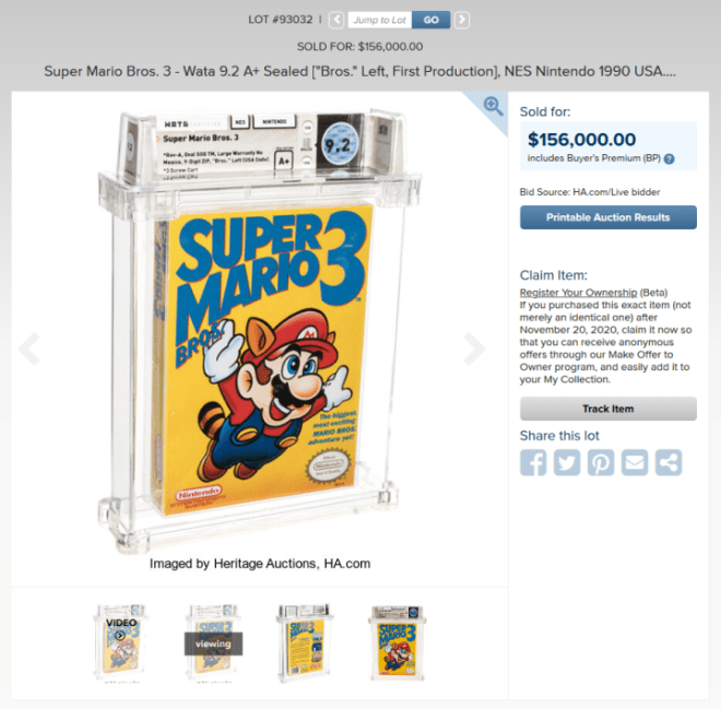 Screenshot_2020-11-21-Super-Mario-Bros-3-Wata-9-2-A+-Sealed-Bros-Left-First-Lot-93032-Heritage-Auctions-720x708 A Copy of Super Mario Bros. 3 Just Sold for a World Record-Setting $156,000 | IGN