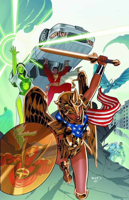 The golden eagle armor has it roots in the DC comic book universe. Art by Paul Renaud. (Image Credit: DC)