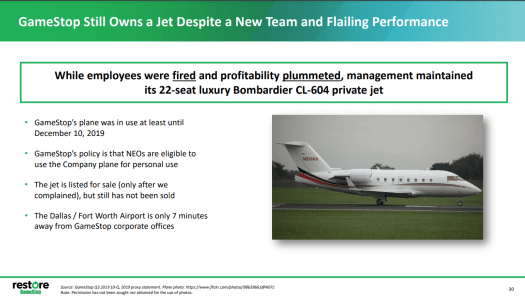 A slide from Hestia and Permit's presentation to shareholders, lambasting GameStop for not selling its corporate jet sooner.