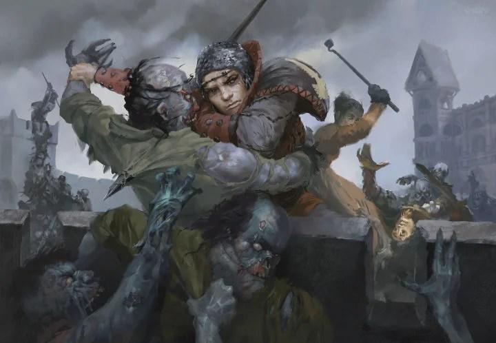 Vladeska Drakov repels a zombie attack. Art by Mark Behm