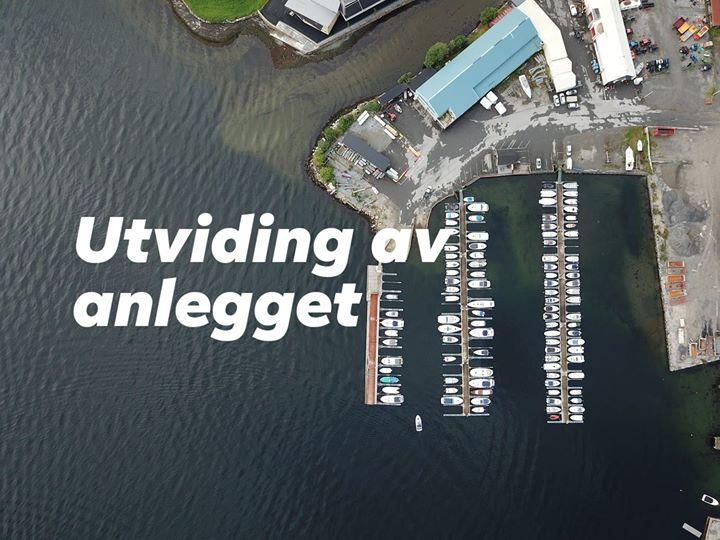 Anlegget til Øystese Båtlag, sett i fugleperspektiv.
