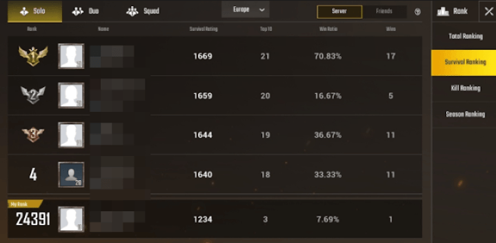 pubg mobile rank sistemi