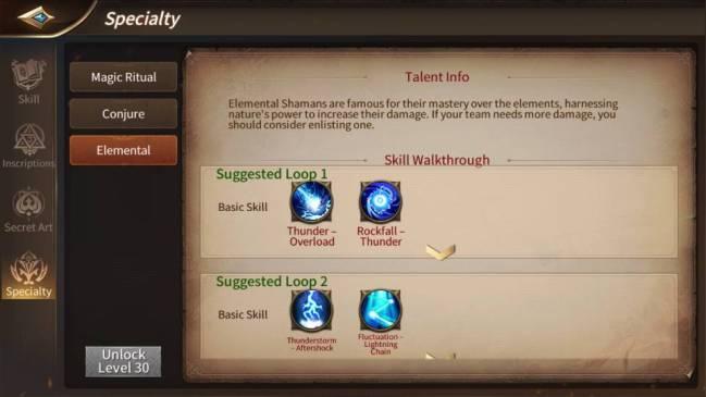 Era of Legends talents