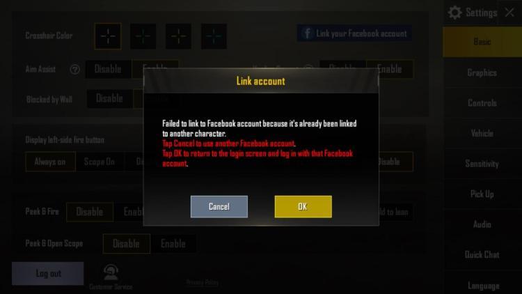 pubg mobile facebook bağlantı hatası