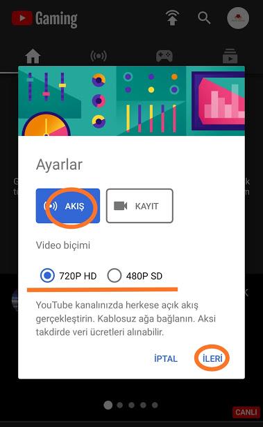 youtube telefondan oyun canlı yayını yapma