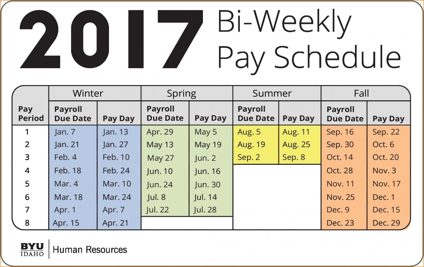 bi weekly pay calendar 2019