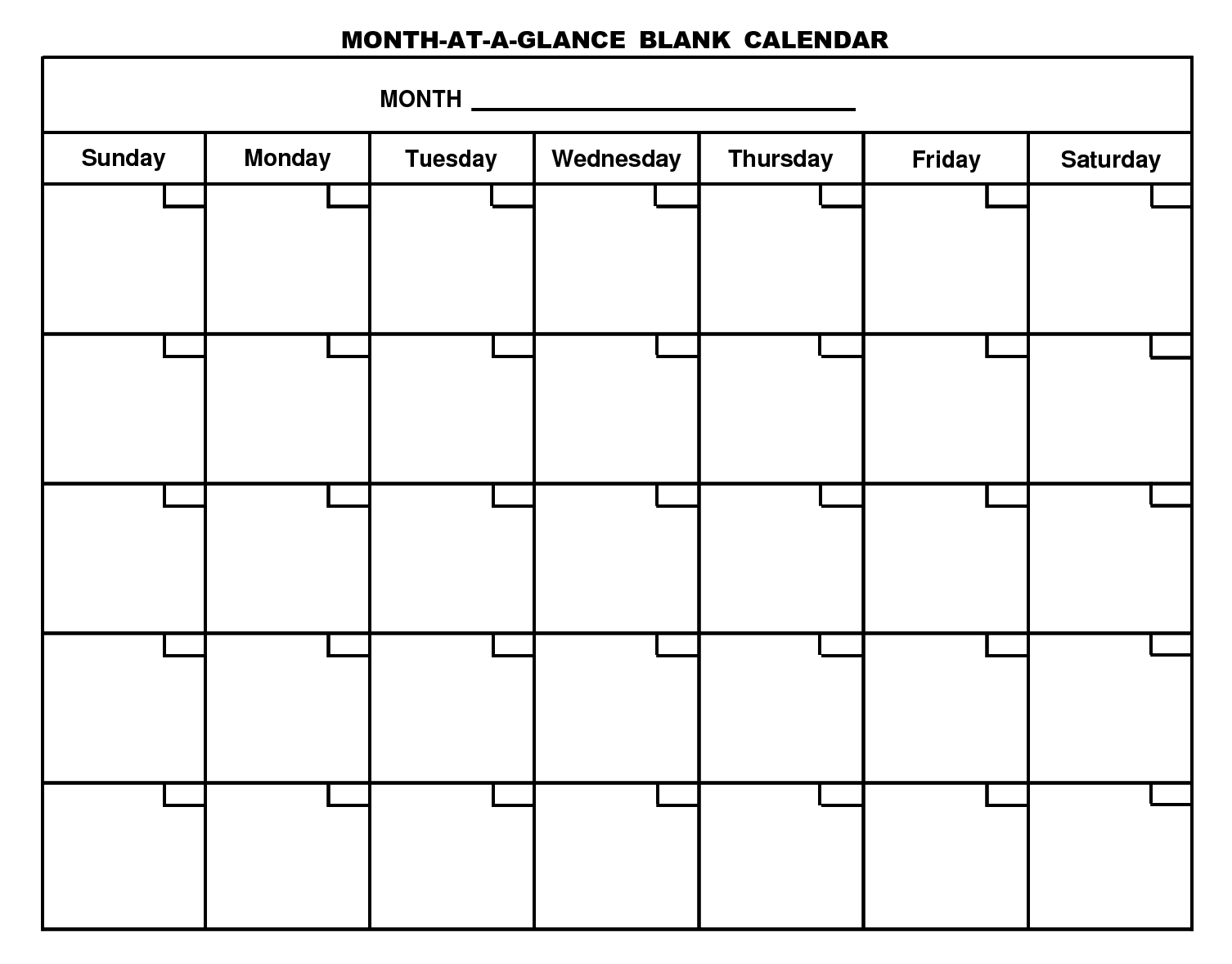Month At A Glance Blank Calendar Printable